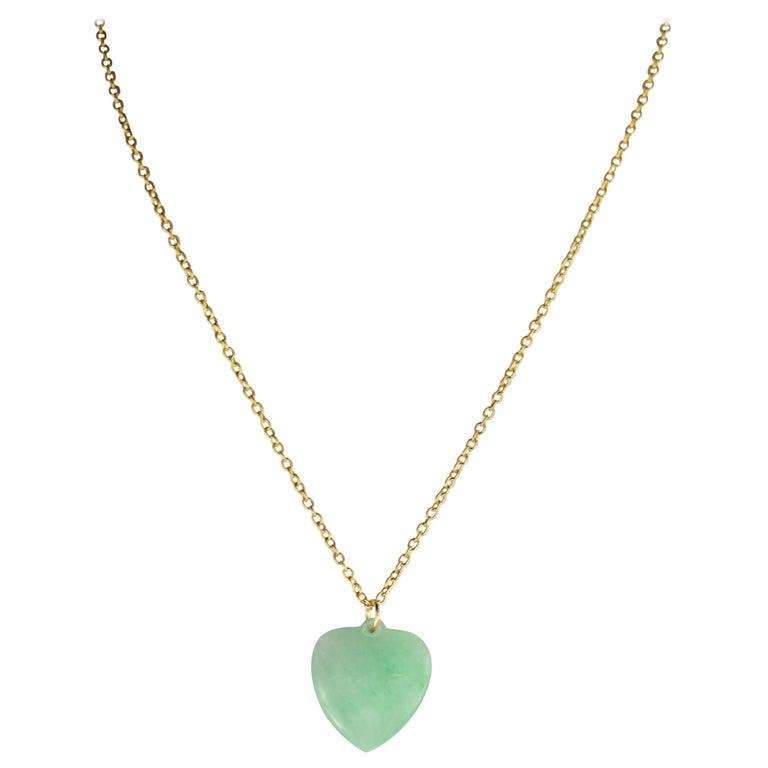 New Jade Heart Pendant Necklace